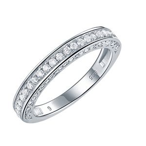 Jewelry - Solid 925 Silver Wedding Band Promise Pave Ring
